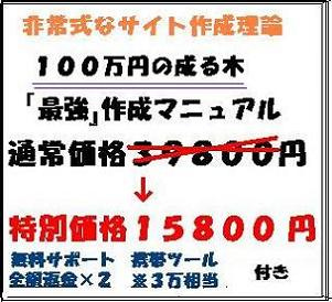 2倍返金有り!!非常識なサイト作成理論で『100万円が成る木』作成マニュアル