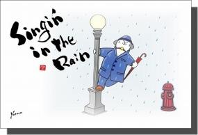 ◆6月の招き猫イラストはがき10枚組◆Singin in the Rain