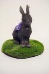 うさぎキャンドル(大) 黒×紫